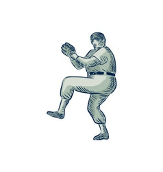 Baseball pitcher pitching etching vector