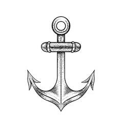 Hand drawn elegant ship sea anchor black sketch vector