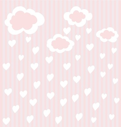 Striped background with clouds and hearts vector
