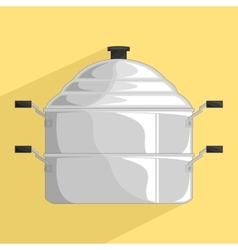 Steamer pot icon vector