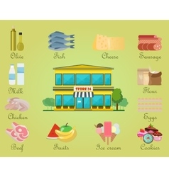 Shopping product supermarket store center vector