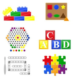 Icons educational toys for children vector