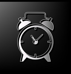 Alarm clock sign gray 3d printed icon on vector