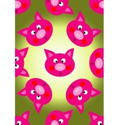 animal pig cartoon seamless pattern vector image vector image