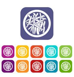 asian salad icons set flat vector image