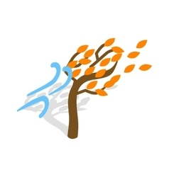 Autumn wind and tree icon isometric 3d style vector
