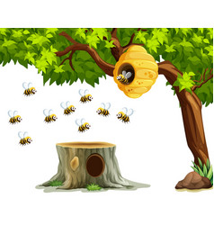 Bees flying around beehive on the tree vector