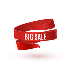 big sale red ribbon isolated on white background vector image vector image