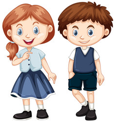 Boy and girl with happy smile vector