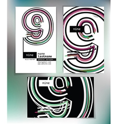 Business card design with number 9 vector