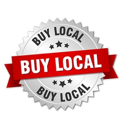 Buy local 3d silver badge with red ribbon vector