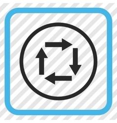 Circulation arrows icon in a frame vector