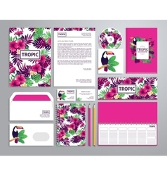 Corporate identity templates in tropical style vector image vector image