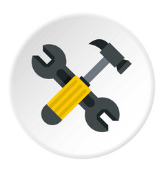crossed wrench and hammer icon circle vector image
