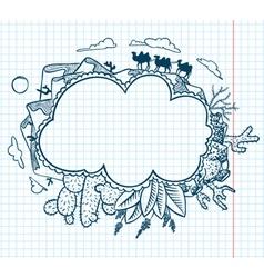 Desert doodle frame vector