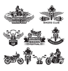 Emblems or logo designs for club of bikers vector