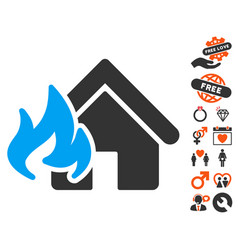Fire damage icon with lovely bonus vector