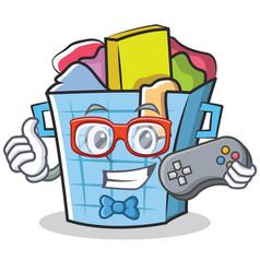 Gamer laundry basket character cartoon vector
