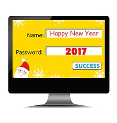 Happy new year 2017 on computer screen vector