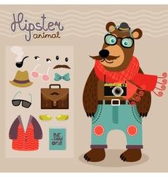 Hipster pack for animal teddy bear vector