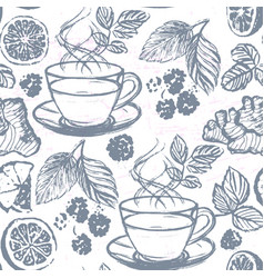 ink hand drawn tea seamless pattern vector image vector image