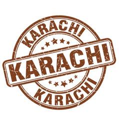 Karachi brown grunge round vintage rubber stamp vector