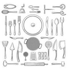 kitchen utensils or kitchenware sketch vector image vector image
