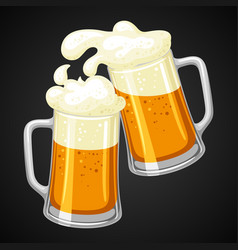 Mugs with light beer and froth for vector