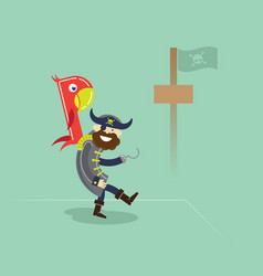 Pirate with parrot standing in a port vector