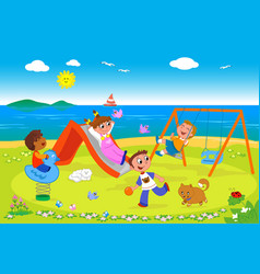 playground at the seaside vector image vector image