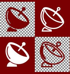 Satellite dish sign bordo and white icons vector