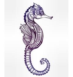 seahorse line art vector image vector image