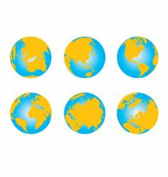 set of globes world map vector image