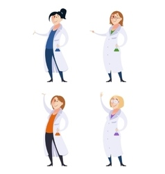 Set of scientist women vector image