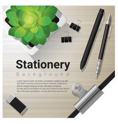 stationery background with office equipment vector image vector image