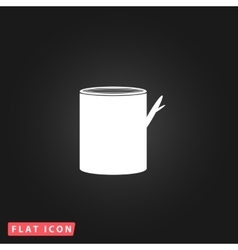 Tree stump flat icon vector