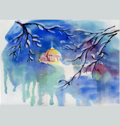 Watercolor winter landscape with village church vector