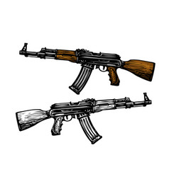 Weaponry armament symbol automatic machine ak 47 vector