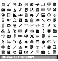 100 calculator icons set simple style vector