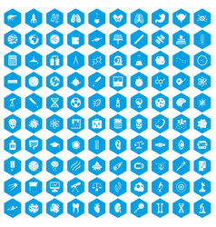 100 science icons set blue vector