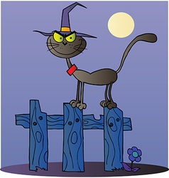 Halloween Witch Cat On A Fence vector image