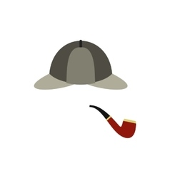 Hat and pipe icon flat style vector