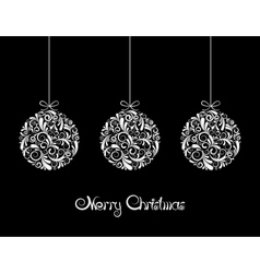 Three White Christmas balls on black background vector image