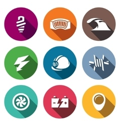 Set of hydroelectric station icons lamp vector