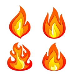 Fire flames set vector