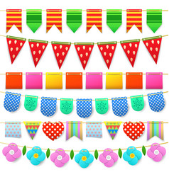 Party celebration colorful flags collection vector