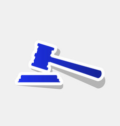 Justice hammer sign  new year bluish icon vector