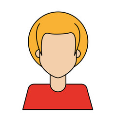 Colorful caricature image faceless half body woman vector