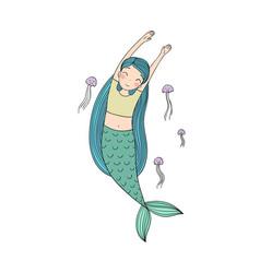 Beautiful little mermaid and jellyfish siren sea vector