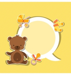 Background photo frame with little cute baby bear vector